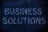 Business-Lösung, die mit glühenden Zahnräder Muster schreiben — Stockfoto