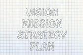 远见、 使命、 策略、 计划书的写作与发光的齿轮 — 图库照片