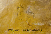 Move forward, one step at a time: footprint design — Stock Photo
