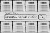 Documents and search bar, looking for information overload solut — Stock Photo