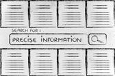 Documents and search bar, looking for precise information — Stock Photo