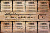 Documents and search bar, looking for reliable information — Stock Photo