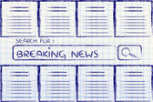 Documents and search bar, looking for breaking news — Stock Photo