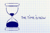 The time is now, hourglass design — Stock Photo