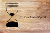 The time is running out, hourglass design — Stock Photo