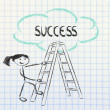 Funny ladder of success design with motivational writing — Stock Photo #48497861
