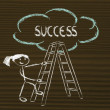 Постер, плакат: Funny ladder of success design with motivational writing