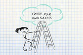 Funny ladder of success design with motivational writing — Zdjęcie stockowe