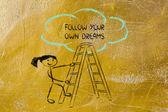 Roliga stege framgång design med motiverande skrivande — Stockfoto