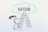 Funny ladder of success design with motivational writing — Stock Photo