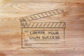 Clapperboard-创建您自己的成功 — 图库照片
