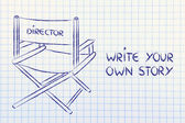 Director's chair - write your own story — Stock Photo