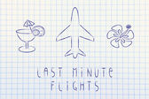 Travel industry: airplane and last minute flight booking — Stock Photo