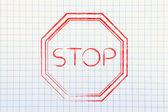 Pare de ilustração de sinal de estrada — Fotografia Stock
