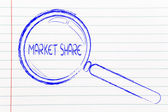 Magnifying glass, focusing on market share — Stock Photo