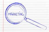 Magnifying glass focusing on marketing and communication — Stock Photo