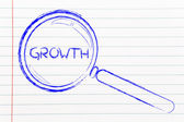 Finding growth in business, magnifying glass design — Stock Photo