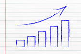 Stats graph showing growth and positive results — Stock Photo