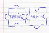 Marketing & profits, jigsaw puzzle design — Stock Photo
