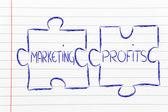 Marketing & profits, jigsaw puzzle design — Stock Photo