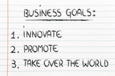 List of business goals: innovate, promote, take over the world — ストック写真