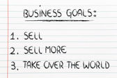 Funny list of business goals: sell, sell more, take over the wor — Stock Photo