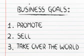 List of business goals: promote, sell, take over the world — ストック写真
