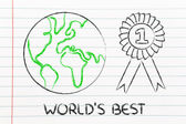 Number one, design of the world with winner ribbon — Stock Photo