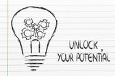 Unlock your potential, lightbulb with gearwheels — Foto de Stock
