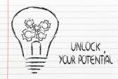 Unlock your potential, lightbulb with gearwheels — Stockfoto