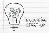 Innovative start-up, lightbulb with gearwheels — Stock Photo