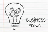 Business vision, lightbulb with gearwheels — Stock Photo
