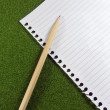 Blank line paper for use note drawing and pencil on green grass. — Stock Photo