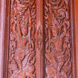 Ornament wooden door of Thai temple in Chiangmai, Thailand — 图库照片