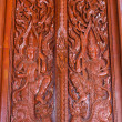 Ornament wooden door of Thai temple in Chiangmai, Thailand — Foto Stock