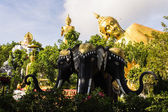 Erawan statue ,Big Reclining Buddha And Standing buddha — Foto de Stock