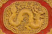 Naga Wall sculpture on Ubosot in Wat Saen Fang , Chiangmai — Stock Photo