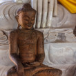 Wood carving buddha Statue in Wat Ban Den , Chiangmai Thailand — Stock Photo