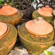 Clay pot on drinking water is the Thai way of life , lanna style — Stock Photo