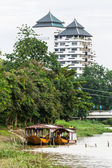 Two Boat moored in Ping river , Chiangmai Thailand — Stock Photo