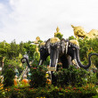 Erawan statue ,Big Reclining Buddha And Standing buddha — Stock Photo