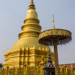 Stock Photo: Golden Chedi which is major place of worship, PhrThat Hariphunchai