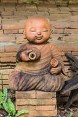 Doll clay monk used in Thailand — Stock Photo