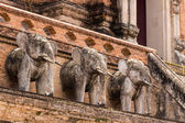 Elephant Statue , Wat chedi luang temple in Thailand — Stock Photo