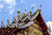 Naga Lanna Gable apex on Ubosot , in Wat Phra That Hariphunchai — Stock Photo
