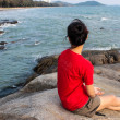 A young girl on beach at the sea , Rayong Thailand — Stock Photo