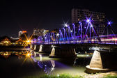 Iron Bridge At Night in Chiangmai Thailand — Stock Photo