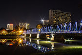 Iron Bridge At Night in Chiangmai Thailand — Stock fotografie