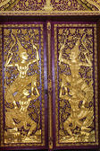 Ancient Buddhist temple mural , Door Thai Style — 图库照片