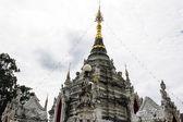 White pagoda in Thai temple in Pasang Lamphun — Stock Photo